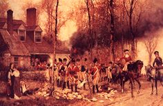 English Soldiers, during the Revolutionary War, search a settler's colonial home in 1777.