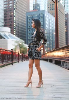 Curvy Outfit Ideas | Petite Outfit Ideas | Plus Size Fashion | Summer Fashion | OOTD | Professional Casual Chic Fashion and Style Inspiration | ExtraPetite.com - Chicago Weekend: Urban Outfitters Motel Romper