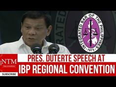 LIVE: President Duterte Speech to LAWYERS at Integrated Bar of the Philippines - YouTube