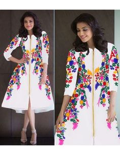 New Designer Kajal Chain Stitch Embroidery Frock Style White Kurti Kurtas and Kurtis For Women