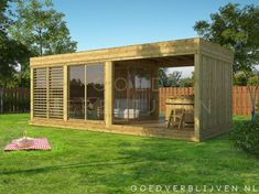 Tuinkantoor Diemen met Overkapping Modern Mobile Homes, Pergola Patio, Tiny House, Shed, Outdoor Structures, Wellness, Chalets, Atelier, Lean To Shed