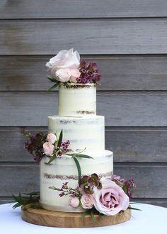 Semi-naked blush and burgundy wedding cake.