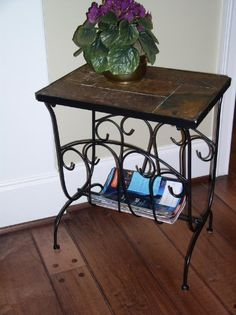 Tuscan Style Metal Magazine End Table with Slate Top 4D Concepts,http://www.amazon.com/dp/B0035C7P5S/ref=cm_sw_r_pi_dp_nUQCsb00BS846C41