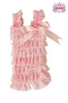Pink & White Striped Lace Petti Romper
