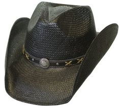 S M Black Toyo Straw Western Hat with Leather Concho Band at Amazon Men s  Clothing store  Cowboy Hats 1c21e3d93ec4