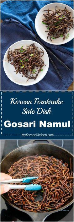 Gosari Namul (Korean Fernbrake Side Dish) Recipe. It's a traditional Korean side dish often used in Bibimbap! | MyKoreanKitchen.com via @mykoreankitchen