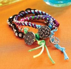 Rattail Cord & Rhinestone Chain Bracelets