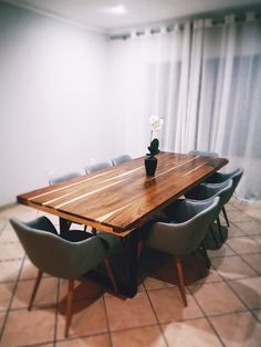 Industrial design kiaat dining table Dinning Table, Industrial Design, Conference Room, Tables, Furniture, Home Decor, Mesas, Instructional Design, Meeting Rooms