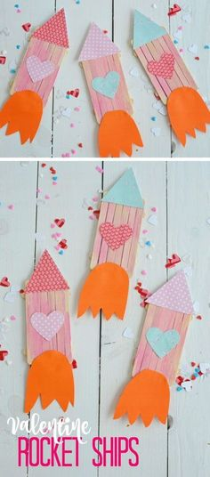 Valentine Popsicle Rocket Ships! Lots of DIY Valentines Crafts for Kids to Make.