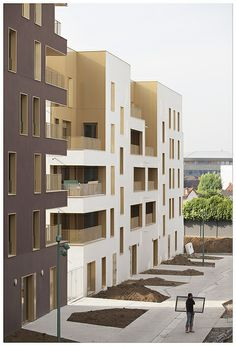 The two housing project are located on two sites adjacent to the Chaperon Vert estate, whose urban project is led by TVK. Social Housing Architecture, Architecture Collage, Facade Architecture, Residential Architecture, Building Exterior, Building Facade, Glass Facades, Halle, Exterior Design