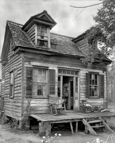 "Circa 1936. ""Dormered cabin. Georgetown County, South Carolina."" This is the kind of place the real estate listings describe as having ""character."""