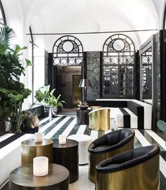 Senato Hotel. Milan. In the hall, Carrara marble floor, copper and brass coffee tables • Interiors: Alessandro Bianchi Architetto