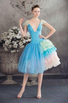 Gorgeous Both Shoulders Deep V Collar Layered Skirt Prom Dresses Cocktail Dress Evening Dress Homecoming dress