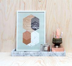 The Minimalist x Materials in Hexagons / Mint / Print