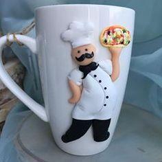 Polymer Clay Figures, Polymer Clay Crafts, Polymer Clay Creations, Emoji Coloring Pages, Cute Mug, Mug Decorating, Clay Cup, Mug Art, D Craft