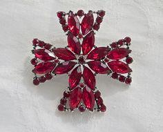 Weiss Maltese Cross Brooch Ruby Red by VintageVogueTreasure