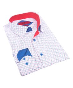 Red Diamond Contrast-Cuff Button-Up - Toddler & Boys