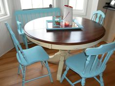 So maybe I should do this to the new table I just got? Minus the blue chairs.