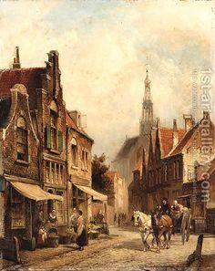 Street Alkmaar, Holland by Cornelis Christiaan Dommersen