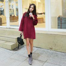 Envy Look - Round-Neck Corduroy Mini Dress