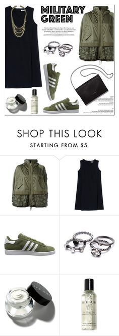 """Attention! Go Army Green"" by helenevlacho ❤ liked on Polyvore featuring mode, Moncler, Jil Sander, adidas Originals, Loeffler Randall, Bobbi Brown Cosmetics, Topshop, military, Gogreen et contestentry"