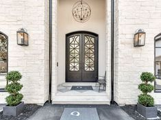 Black windows and doors pause white exterior- paint color???Modern French Chateau Style Custom Home Design
