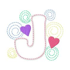 Swirly Letter J Applique Design - Machine Embroidery Pattern - Fits 4x4 Hoop - Instant Download, $2.50