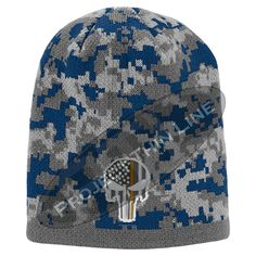 Camoflauge Embroidered Subdued Thin ORANGE Line Punisher Skull Inlayed with American FLAG Skull Cap