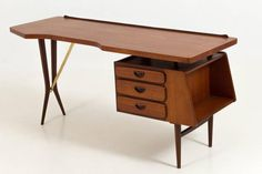 Iconic Mid-Century Modern Desk by Louis Van Teeffelen for Webe, 1959 | From a…