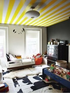 Stripes on the ceiling...yes please!  Jenna Lyons home.