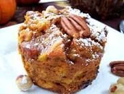 Pumpkin Bread Pudding Muffins for individual servings at Thanksgiving time---or for breakfast. Top it with a pecan and if you want, you can still add the decadent sauce over the top. Why not?  <3