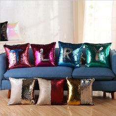 New Home Decorative American style Creative DIY Sequins Solid color Cushion Cover Waist Pillow Case Sofa Chair Pillow cover #Affiliate