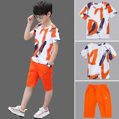 Boys Clothing Sets Cotton Short Sleeve T-Shirt and Shorts Set – Kidenhouse Fashion Kids, Teenage Boy Fashion, Boys Summer Outfits, Summer Boy, Boy Outfits, Enjoy Summer, Summer Sale, T Shirt And Shorts, Kids Shorts