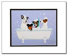 Spa Day Jack Russells Matted Graphic Art Print