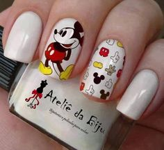 nail art images, image search, & inspiration to browse every day. Trendy Nails, Cute Nails, My Nails, Disney Nail Designs, Cute Nail Designs, Mickey Mouse Nail Design, Mickey Mouse Nails, Fingernails Painted, Nail Art Images