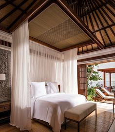 Stunning luxury interior design ideas from modern boutique hotels. Lobby, bedroom, stairways and entryways, a room by room guide to finding inspiration with the best interior architecture from world renowned hotels. Bali Bedroom, Home Decor Bedroom, Tropical Bedrooms, Tropical Houses, Luxury Interior Design, Interior Architecture, Resort Interior, Room Interior, Jimbaran