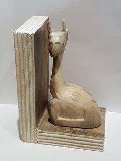 Buchstütze Giraffe aus Holz geschnitzt beige originell Deko Tierfigur Skulptur