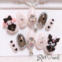 Korean Nail Art, Korean Nails, Art Deco Nails, 3d Nails, Really Cute Nails, Pretty Nails, Kawaii Nail Art, Soft Nails, Fire Nails