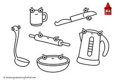 Drawing Kitchen Utensils | Coloring Page Kitchen | Kitchen Utensils For Kids