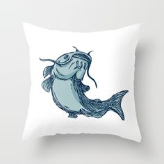 Catfish Mud Cat Jumping Up Drawing Throw Pillow by Patrimonio