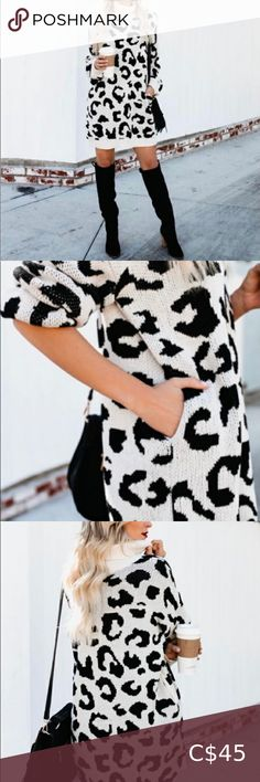 Fitted Black Dress, Leopard Sweater, High Collar, Dress Size Chart Women, Knit Dress, Short Sleeve Dresses, Fashion Tips, Fashion Design, Sweaters