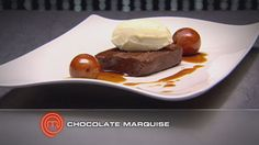Chocolate Marquise with Mascarpone Cream and Pedro Jimenez Poached Plums by Gary Mehigan; via MasterChef Australia. Masterchef Recipes, Cookie Dough Frosting, Masterchef Australia, Golden Syrup, Tray Bakes, Chocolate Recipes, No Bake Cake, Gary Mehigan, Sweet Tooth