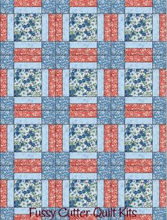 Turquoise Blue Red Flowers Floral Fabric Fast Easy Beginner Pre-Cut Quilt Blocks Top Kit Quilting Squares Pieces Material Sale