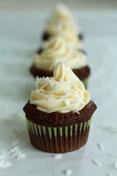 Chocolate, coconut and rum sound like a an awesome flavor combo. These Chocolate Coconut Rum Cupcakes are rich chocolatey cupcakes with Malibu (coconut flavored Rum Cupcakes, Alcoholic Cupcakes, Cupcake Cookies, Coconut Cupcakes, Chocolate Cupcakes, Drunken Cupcakes, Alcoholic Desserts, Party Cupcakes, Cheesecake Cupcakes