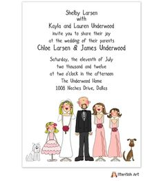 Cute Family Affair Wedding Invitation | Quaint Wedding Stationery. Choose  Your Characters And The Line