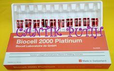 Biocell Platinum Made in Switzerland Setiap box berisi 10ampul @5ml/ampul Komposisi : Vitamin C 2000mg + Plant Collagen Manfaat : - Mengurangi keriput - Mencerahkan kulit - Memudarkan bekas luka dan bintik-bintik gelap - Melembabkan kulit - Memudarkan perubahan warna pigmentasi seperti bintik-bintik usia dan pigmentasi kulit. - Mengisi kehilangan kolagen dan meningkatkan elastisitas kulit. Dosis : 1-2x per minggu secara intravena