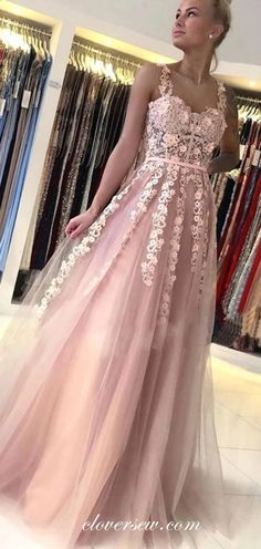 Dusty pink tulle applique sleeveless a-line prom dresses for teens... Clover sew. Dusty Pink Dresses, Floral Prom Dresses, Backless Prom Dresses, A Line Prom Dresses, Sexy Wedding Dresses, Event Dresses, Cheap Wedding Dress, Indian Prom Dresses, Club Dresses