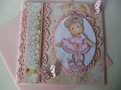 Pink Magnolia ( Tilda)Ballerina  greeting Handmade card 3D ~ Hand coloured -Girl