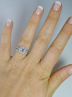 Aquamarine Engagement Ring and Matching Band  Princess by greengem, $320.00