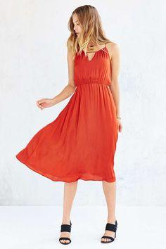 Alice & UO Bibi Satin Midi Dress - Urban Outfitters